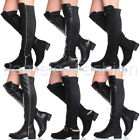 WOMENS LADIES FLAT LOW HEEL ZIP CHAIN STRETCH HIGH OVER THE KNEE BOOTS SIZE