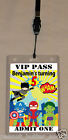 SUPERHERO BIRTHDAY VIP PASS INVITATION & LANYARD - DOUBLE SIDED