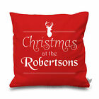 Christmas At The Personalised Printed Stag Cushion Cover Seasonal Xmas Gift Noel