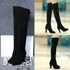 Sexy Womens Suede Strappy Pointy Toe High Heel Pull On Party Over the Knee Boots