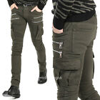 New Mens Italy Style Vintage Multi Zipper Army Green Moto Pants Biker JEANS B933