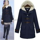Winter Warm Womens Casual Hooded Parka Buckle Woolen Trench Coat Jacket Peacoat