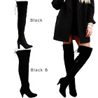LADIES WOMENS THIGH HIGH BOOTS OVER THE KNEE PARTY STRETCH BLOCK MID HEEL SIZE