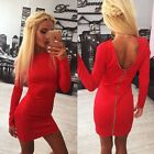 Women Ladies Long Sleeve Zip Up Bodycon Evening Party Cocktail Clubwear Dress