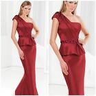 NWT TERANI  COUTURE One Shouldered Satin Evening Gown With Peplum Skirt