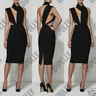 Womens Sexy Multiway Bodycon Halterneck Cocktail Party Evening Ladies Midi Dress