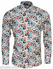 Relco Mens Multi Coloured Abstract Floral Long Sleeved Button Down Vintage Shirt
