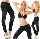 Sexy New Women's Stretchy Black Jeans Trousers Skinny Slim Combat Style B 395