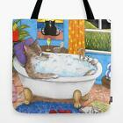 Tote Bag funny Cat 567 in Bath All over print Made in USA art painting L.Dumas