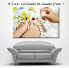 LARGE CANVAS WALL ART WHITE FLOWERS FOOT SPA DARK RED NAIL VARNISH ZEN NEW PRINT