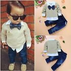Внешний вид - 2pcs Toddler Baby Boys Kids Shirt Tops+Denim Pants Clothes Outfits Gentleman Set