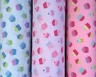 CupCake Pattern - 100% Pure Cotton Fabric 45 inch Wide Blue Red Pink Lime Cream