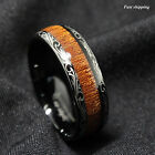 Black Tungsten carbide Ring Koa Wood Inlay Dome Wedding Band Ring men's jewelry