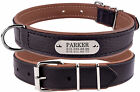 Personalized Dog Collar Leather Engraved Nameplate Optional Puppy Small to Large