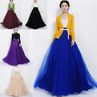 Womens Elastic Band Dress Chiffon Double Layer Long Maxi Tulle Skirt Xmas Gift