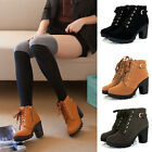 Girl Women High Heel Lace Up Buckle Ankle Boots Winter Pumps Suede Shoes Durable