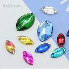 6*12mm Navette Rhinestones Sew On Flatback Crystal Glass Strass Chatons 200ps