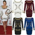 CELEB WOMEN SEXY LONG SLEEVE DRESS FORMAL BALL COCKTAIL PROM EVENING PARTY DRESS