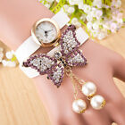 Women's Fashion Big Butterfly Pearls Pendant Crystal Bracelet With Watch