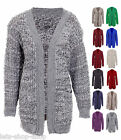 New Ladies Chunky Knit Long Sleeve Fluffy Patch Cardigan Women Plus Size Cardi