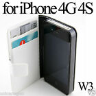 Leather Wallet Flip Case Card Slot Pouch Cover Plastic Glass SP For iPhone 4 4S