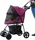 Pet Dog Stroller Walking  Carrier Cat Travel 4 Wheel Walker Outdoor Small Puppy