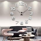 Fashion Large Number Wall Clock Diy 3D Mirror Sticker Big Watch Home Decor Art