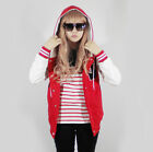 Women New Patch Hoodie Baseball Jacket College Varsity XS S M L XL Red Quality