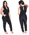 Sexy Classic Sleeveless Black Jumpsuit Front Gold Chain Keyhole Back