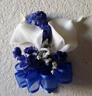 Ivory Royal Blue Babys Breath Calla Lily Corsage & Boutonniere
