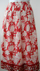 PER UNA VISCOSE SKIRT~BOLD & BRIGHT RED/WHITE FLORAL PRINT~MID-LENGTH~12~NEW