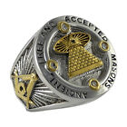 Masonic Ring All Seeing Eye Freemasonry 18k Gold Plated stones Cubic Zirconia