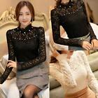 Fashion Women Blouse Casual Bead Lace Long Sleeve T-shirt Elegant Tops