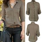 Fashion Women Button Down Shirt Casual Long Sleeve Slim Tops Blouse