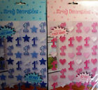 6 Strings of 1st Birthday Party Decorations. Pink(Hearts) Blue (Stars) over 42'
