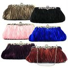 Ruffle Satin Crystal Clutch Evening Handbags Party