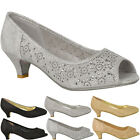 WOMENS LADIES LOW KITTEN HEELS COURT SHOES OPEN TOE WEDDING DIAMANTE PARTY SIZE New with box
