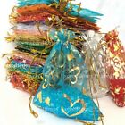 25-100pcs Organza Gift Bag Random Mixed XMAS Wedding Party Favours Packing Pouch
