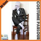 New Black Gangster Tuxedo Second Skin Suit Zentai Fancy Dress Costume All Sizes