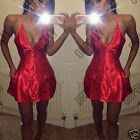 Womens Satin Strappy V Neck Cocktail Party Ladies Evening Sexy Mini Skater Dress