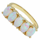BJC® 9ct Yellow Gold Straight Cultured Opal Gypsy Dress Ring Size L - R 1.00ct