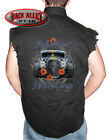 BULLET PROOF HOT ROD GARAGE Sleeveless DENIM Shirt Biker Cut ~ Skull & Pinstripe