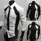 Men Casual Slim Fit Style Dress Shirts Long Sleeve Formal Shirt Black and White