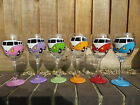 hand painted camper van wine glass