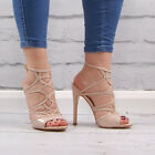 Womens Nude Open Toe Sandal Ladies Cut Out High Heel Stiletto Fashion Shoe Size