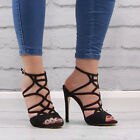 Womens Black Open Toe Sandal Ladies Cut Out High Heel Stiletto Fashion Shoe Size