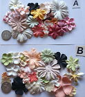SCRAPBOOKING NO 270 - 18 MIXED PRIMA PAPER FLOWERS - 8 DIFFERENT PACKS AVAILABLE
