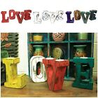 Big Shabby Chic LOVE Letters - Tealight Holders White Red Multi Wash Wooden Word