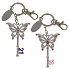 18th OR 21st Birthday Butterfly Key Ring Keepsake 7cm KEY with Engraving Plate