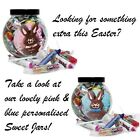 PERSONALISED Easter Gifts Sweet Jars Pink Blue Easter Gift Idea For Girl Boy